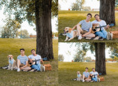 collage of father playing acoustic guitar and sitting on blanket near son and golden retriever