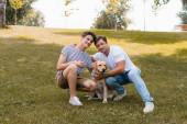 otec objímání teenager chlapec poblíž zlatý retrívr zatímco sedí na trávě v parku