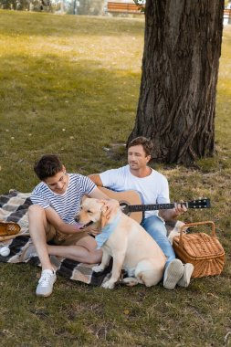 father sitting under tree and playing acoustic guitar while looking at teenager son and golden retriever