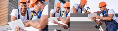 Collage of builders in uniform using digital tablet while working on roof of building stock vector