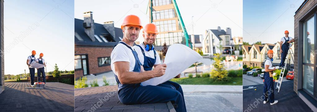 Collage of builders holding blueprint while working on roof of house stock vector