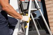 Oříznutý pohled stavitele v rukavicích držícího kladivo u bedny s nářadím na žebříku venku