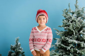 boy in winter outfit standing near christmas trees on blue