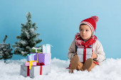 boy in hat and winter outfit sitting on snow near presents and christmas trees isolated on blue