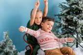 vzrušené děti s rukama nad hlavou sedící v saních u zelených borovic na modré