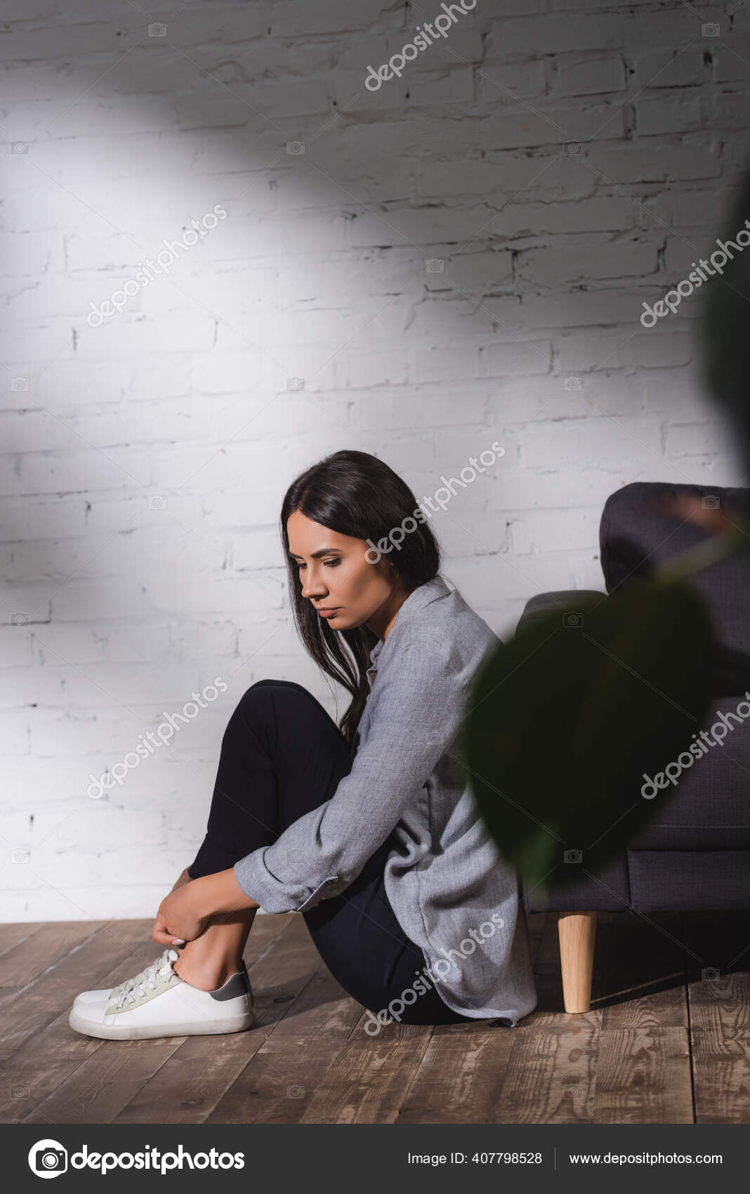 Sad Lonely Woman Sitting Floor Brick Wall Home Mental Health Stock Photo Image By Andrewlozovyi 407798528