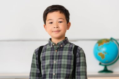 Asian schoolboy looking at camera in classroom stock vector