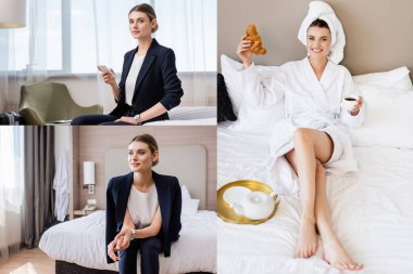Collage of businesswoman with smartphone and woman in bathrobe and towel relaxing on bed and holding croissant with cup of coffee stock vector