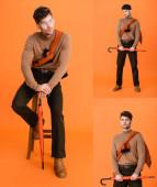 Collage eines trendigen Mannes im herbstlichen Outfit und Brille, der auf einem Stuhl sitzt und einen Regenschirm in Orange hält