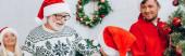 panoramatický koncept seniora v Santa klobouk při pohledu na vnuka v blízkosti rodiny a vánoční strom