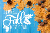 top view of autumnal foliage with nuts and cones near i love fall most of all lettering on blue wooden background