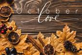 Blick von oben auf herbstliche Dekoration und Laub in der Nähe von Oktober Love Schriftzug auf Holzgrund