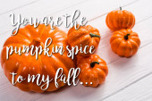 Photo orange vegetable near you are the pumpkin spice to my fall lettering on white wooden background