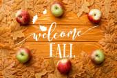 Ansicht von reifen Äpfeln und Blättern in der Nähe von Willkommensbuchstaben im Herbst auf Holzgrund