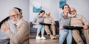 Collage of elderly man hugging adult daughter and looking at family photos together, banner stock vector