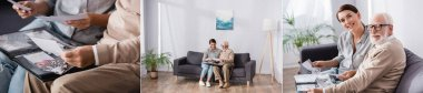 collage of eldery man with adult woman browsing photo album while sitting on sofa and looking at camera, banner