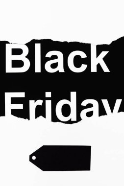Black friday lettering and price tag on white and black background stock vector