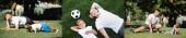 Koláž otce a syna ve sportovním oblečení ležící na trávě u plesu, dělat prkna a výpady v parku, prapor