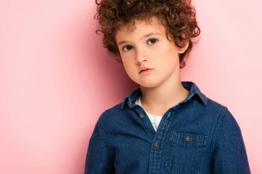 Serious and curly boy in denim shirt looking at camera on pink stock vector