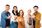 Smiling multiethnic people looking at camera while showing middle fingers isolated on white
