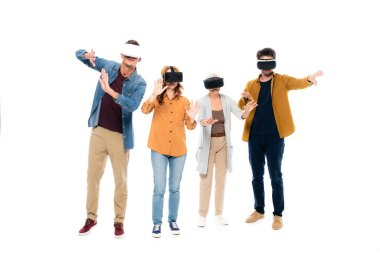 Men and women in casual clothes using vr headsets isolated on white stock vector