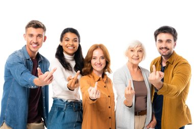 Smiling multiethnic people looking at camera while showing middle fingers isolated on white stock vector