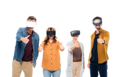 Smiling people in vr headsets showing like isolated on while stock vector
