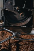 Roasting coffee beans in large professional coffee roaster