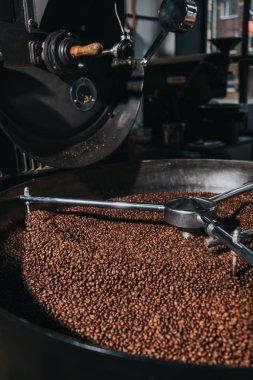 Roasting coffee beans in industrial coffee roaster stock vector