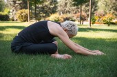 Fotografie side view of woman practicing yoga in Extended Child pose (Utthita Balasana) on grass in park