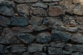 Photo close-up view of dark grey stone wall texture