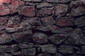 Photo close-up view of old weathered stone wall textured background