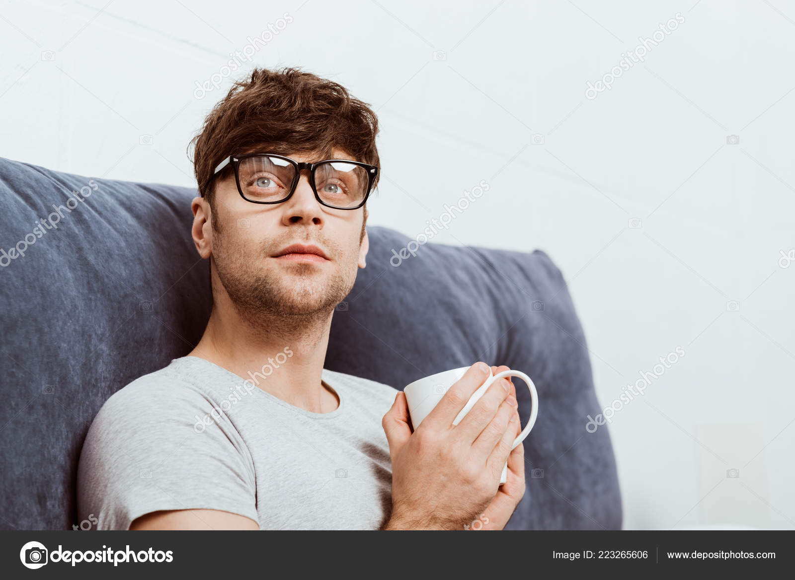 f4ec82505bb Handsome Young Man Eyeglasses Coffee Cup Home — Stock Photo ...
