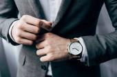 částečný pohled podnikatel s hodinkami zapínal sako