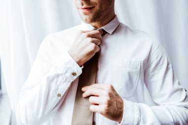 partial view of handsome businessman in white shirt tying neck tie