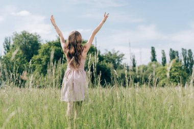 back view of woman in stylish dress with outstretched arms standing in meadow alone