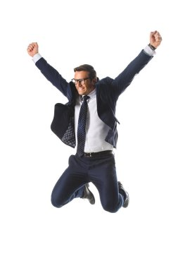 Excited businessman in eyeglasses jumping with raised wide arms isolated on white background stock vector