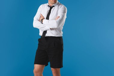 cropped image of stylish man in shorts with crossed hands isolated on blue background