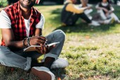 partial view of african american man in headphones with notebook resting on green lawn in park