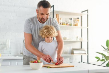 father cutting strawberry by knife while his son standing near at kitchen
