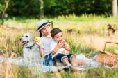 Fotografie glücklich Geschwister sitzen auf Decke Picknick und Verzehr von Äpfeln