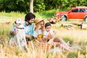 Fényképek boldog család kiadási időt a piknik a kutya