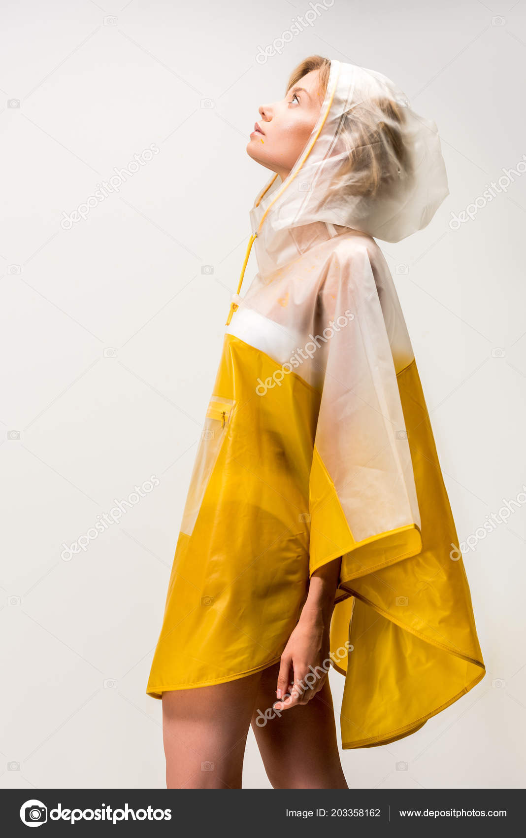 bf801c4f1 Side View Beautiful Woman Raincoat Looking Isolated White — Stock Photo