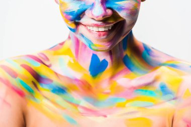 Cropped image of smiling girl with colorful bright body art isolated on white stock vector