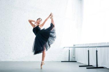 full length view of beautiful elegant young ballerina practicing ballet in studio