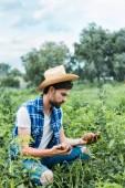 Fotografia bello coltivatore che tiene patate mature nel campo presso azienda agricola
