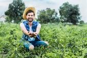 Fotografia Coltivatore felice bello risultati maturi patate nelle mani in campo