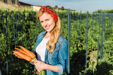 attractive farmer holding organic carrots in field at farm and looking at camera