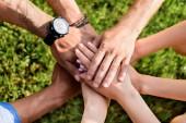 oříznuté záběr mnohonárodnostní přátel pohromadě drží za ruce