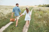 Fotografie rear view of couple with picnic basket holding hands while walking in field
